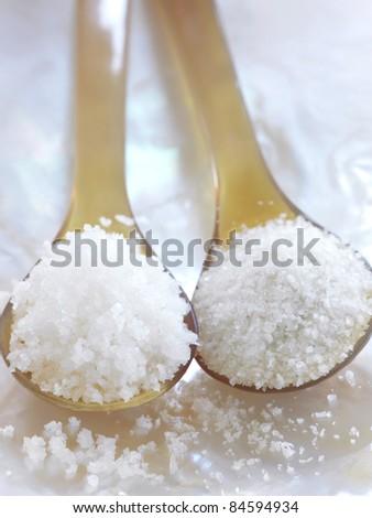 Spoonful of Fleur de sel sea salt and Guérande salt - stock photo