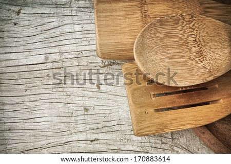 Spoons on the wood table