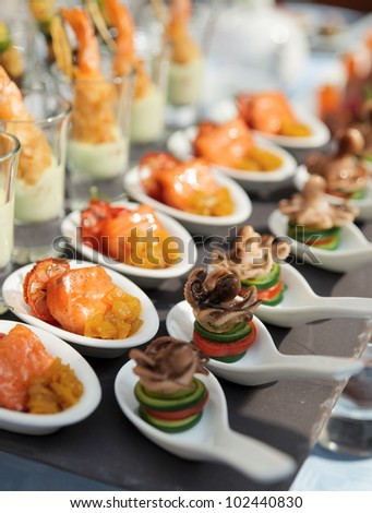 Canape stock images royalty free images vectors for Edible canape spoons