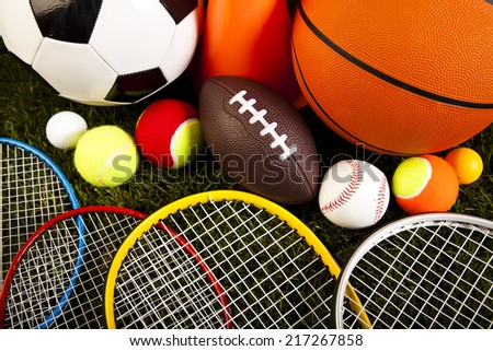 Sport, a lot of balls and stuff  - stock photo