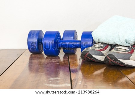 Sport accessories, exercise equipment as fitness concept