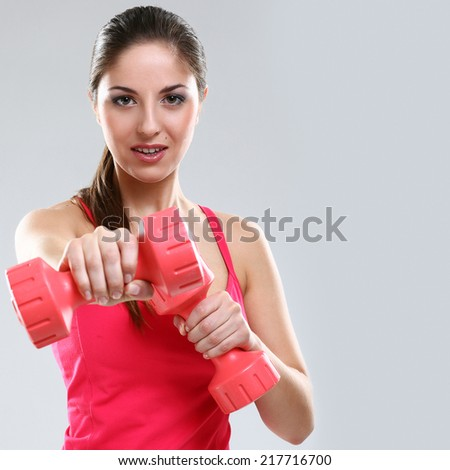 Sport, active. Cute girl during workout - stock photo