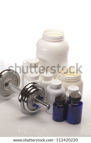 Sport and Fitness Supplement isolated on white background - stock photo