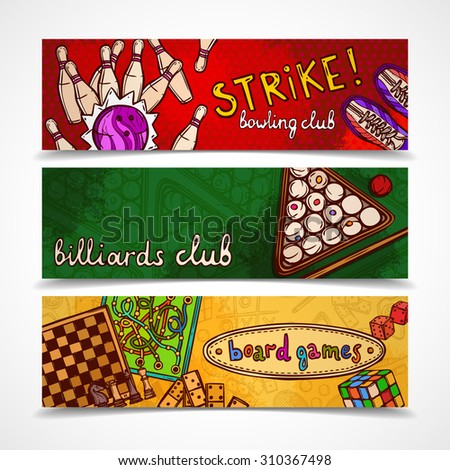 Sport and gambling games sketch colored horizontal banner set with bowling billiards and board isolated  illustration - stock photo