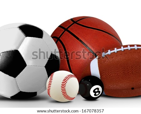 Sport and Leisure Balls over White
