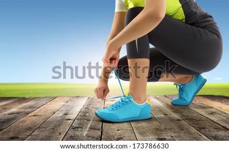 sport and wooden floor  - stock photo