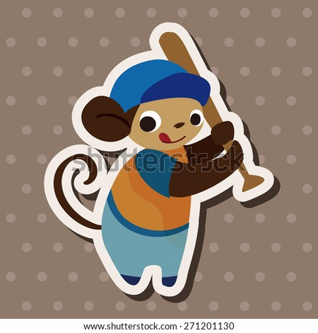 sport animal monkey cartoon, cartoon stickers icon - stock photo