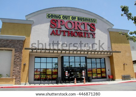 Sport Authority, Murrieta, CA is just one of the stores in the chain promoting a liquidation sale, July 3, 2016. The sporting goods chain began their going-out-of-business sale of assets in May 2016.