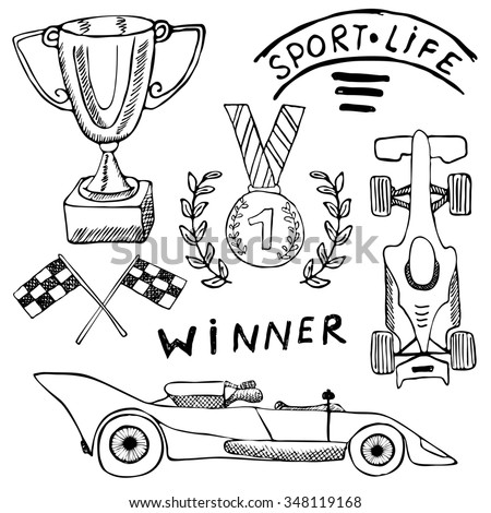 Sport auto items doodles elements. Hand drawn set with Flag icon. Checkered or racing flags first place prize cup. medal and rasing car, race illustration. Drawing doodle collection isolated on white. - stock photo