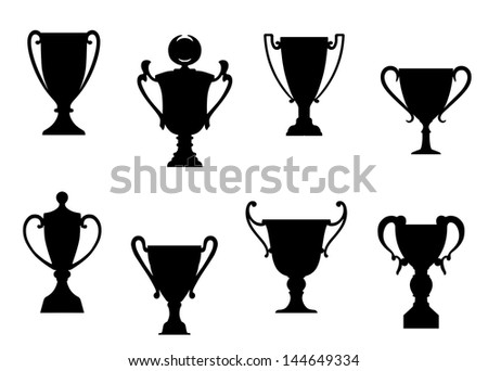 Sport awards and trophies set foe heraldry or success concept design or idea of logo. Vector version also available in gallery - stock photo