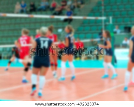 Sport background blur. Boke spectacular game of volleyball as screensaver for sports poster.