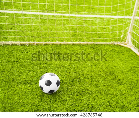 Sport background. football Soccer ball on green grass field. Goal net  - stock photo