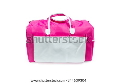 Sport bag isolated. Gym bag isolated. Travel bag isolated. Handle bag isolated. Pink bag isolated. Canvas bag. Zip bag. Modern bag. Clipping path bag. Bag isolated. Blank bag. Empty bag. Large bag - stock photo