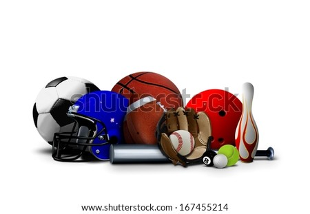 Sport balls and Equipment over White - stock photo