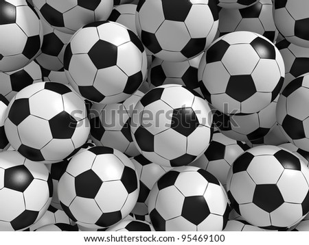 Sport balls background. 3d rendered illustration. - stock photo