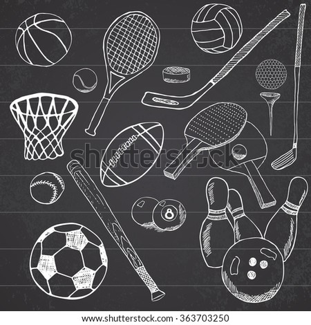 Sport balls Hand drawn sketch set with baseball, bowling, tennis football, golf balls and other sports items. Drawing doodles elements. collection, isolated on white background. - stock photo