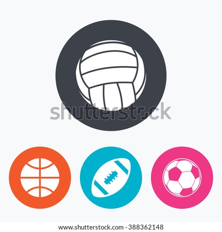 Sport balls icons. Volleyball, Basketball, Soccer and American football signs. Team sport games. Circle flat buttons with icon.