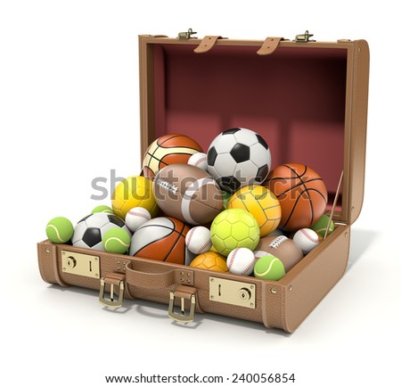 Sport balls in the case - stock photo