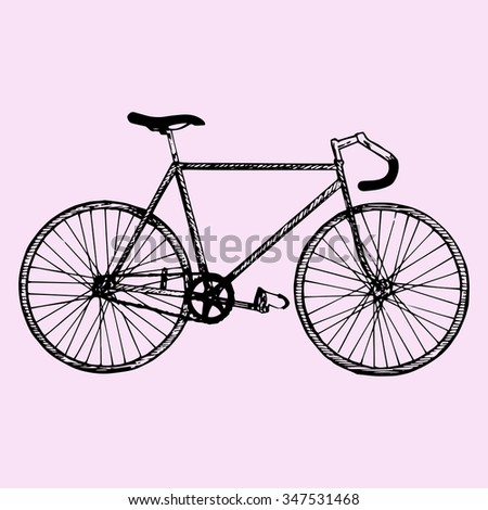 sport bicycle, race road bike, doodle style, sketch illustration, hand drawn, raster - stock photo