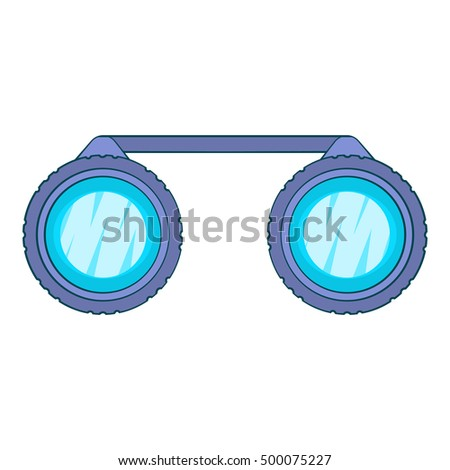 Sport binoculars icon in cartoon style isolated on white background. Watch symbol  illustration