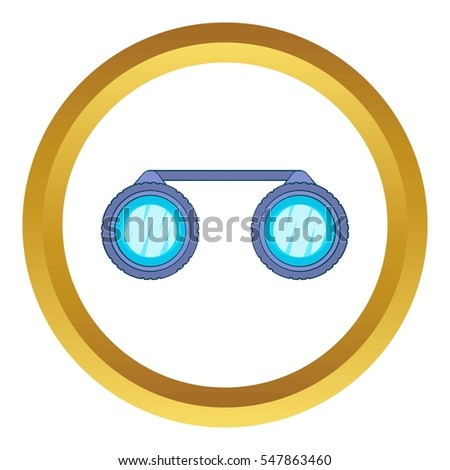 Sport binoculars  icon in golden circle, cartoon style isolated on white background
