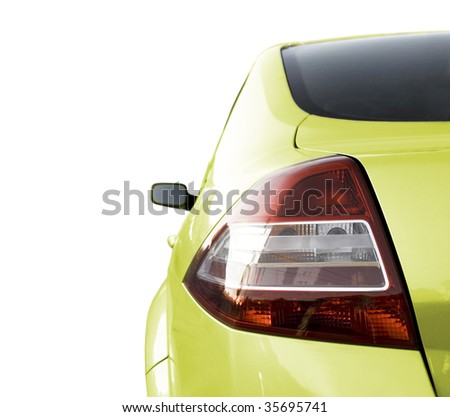 Sport Car - Front side, half. Isolated on white - Back side, half. Isolated on white - stock photo