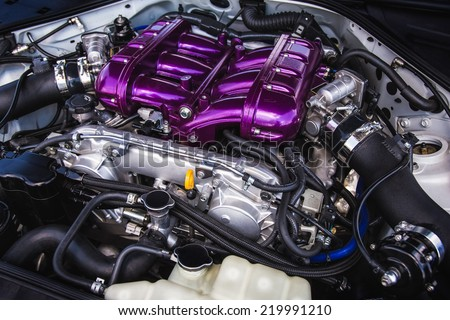 Sport car high tech powerful engine - stock photo