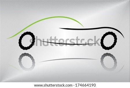 Sport car outline in motion on metallic background, raster version. - stock photo
