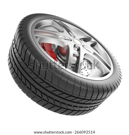 Sport car wheel isolated on a white background. 3d illustration high resolution - stock photo
