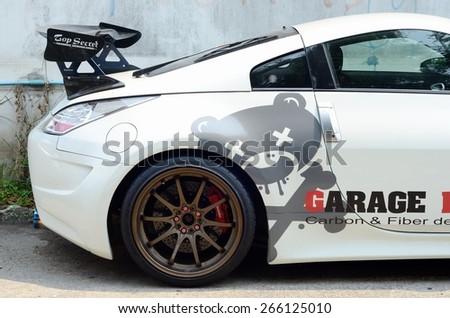 Sport Car with  spoiler / BANGKOK, THAILAND - MARCH 28 : Sport Car with  spoiler at local lane on March 28, 2015 in Bangkok Thailand - stock photo
