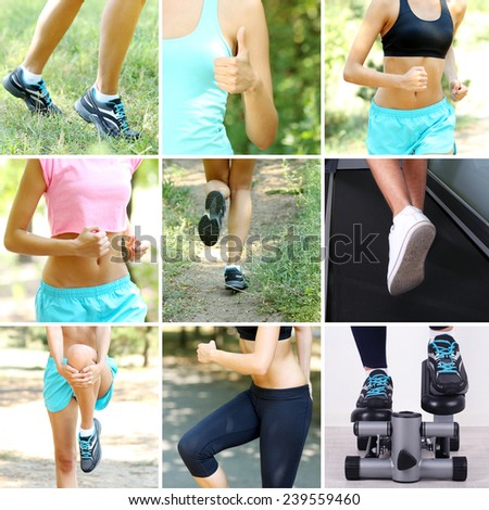 Sport collage. Running - stock photo