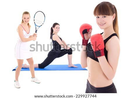 sport concept - female tennis player, female boxer and woman doing yoga isolated on white background - stock photo
