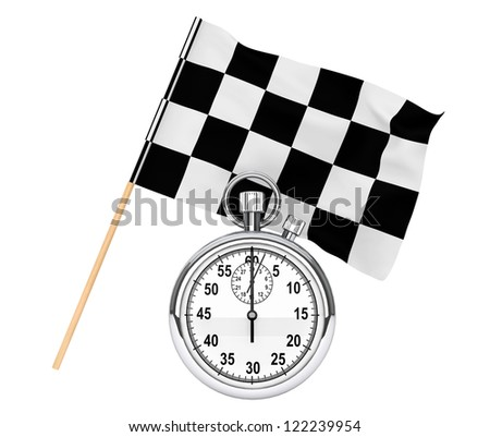 Sport concept. Stopwatch with checkered flag on a white background