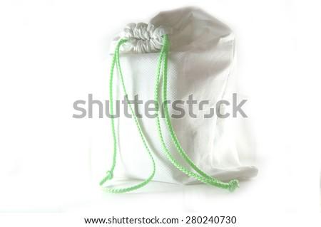 Sport cotton bag on white - stock photo