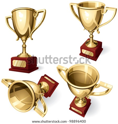 Sport Cup. Set of Four Views on White Background. Rasterized Version - stock photo