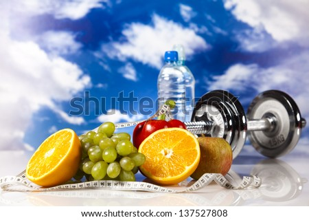 Sport diet, Calorie, measure tape - stock photo