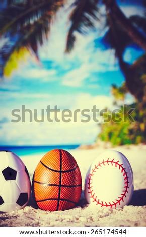 Sport eggs on ocean beach  - stock photo