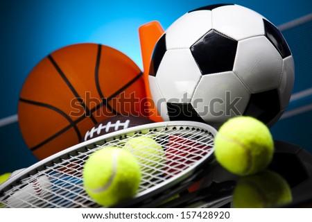 Sport equipment and balls - stock photo