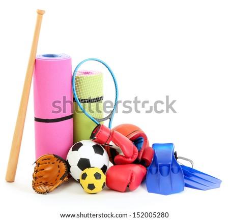 Sport equipment isolated on white - stock photo