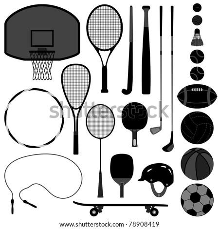 Sport Equipment Tool Basketball Tennis Badminton Football Soccer Rugby Hockey Baseball Volleyball Squash Golf Ball - stock photo