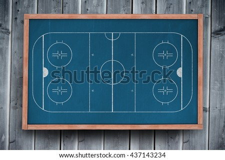 Sport field plan on white background against blackboard with copy space on wooden board