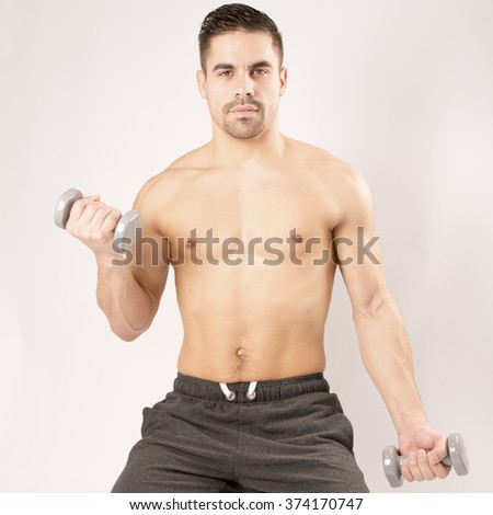 sport fitness musculation man white background