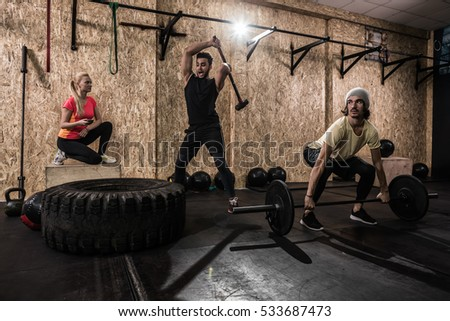 Sport Fitness People Group Crossfit Training Stock Photo Royalty