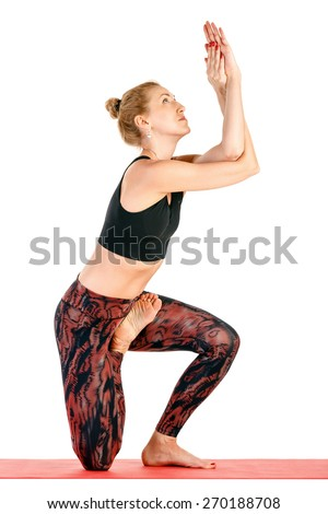 Sport fitness woman doing yoga exercises, very hard advanced pose, full length portrait isolated over white background - stock photo