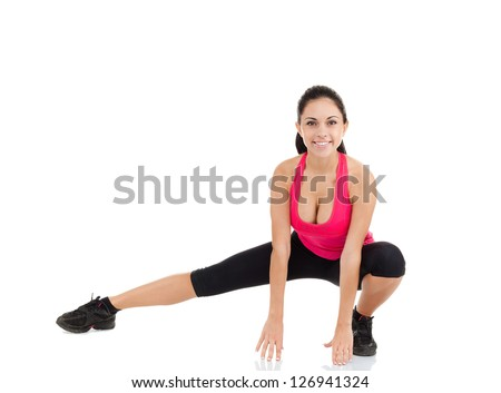 sport fitness woman, young healthy girl doing stretching exercises, full length portrait isolated over white background - stock photo