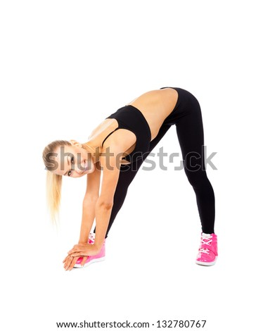 sport fitness woman, young healthy girl doing stretching exercises, full length portrait isolated over white background