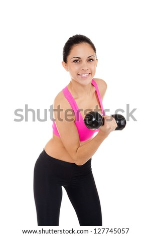 sport fitness woman, young healthy girl smile gym exercises dumbbells working out, portrait isolated over white background