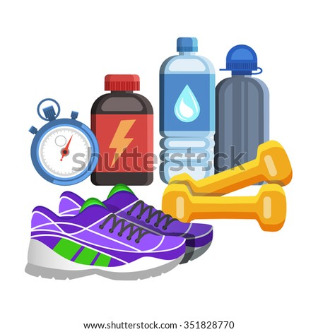 Sport flat icons, jogging and fitness kit elements. Sport concept - stock photo
