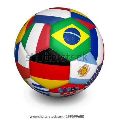 Sport football international concept with a soccer ball with some of the world flags on white background. - stock photo