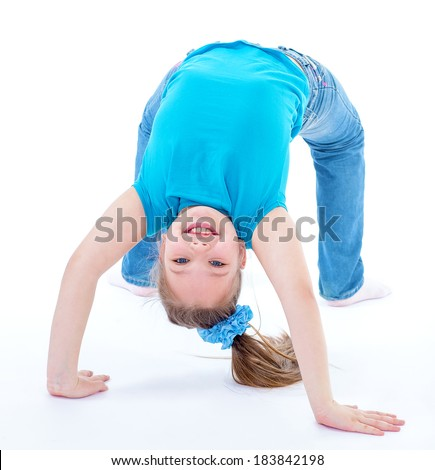 Sport,girl,child and kid - girl gymnast on a white background - stock photo